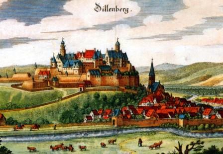 Colorierte Zeichnung des Dillenburger Schlosses von der Merian Ansicht