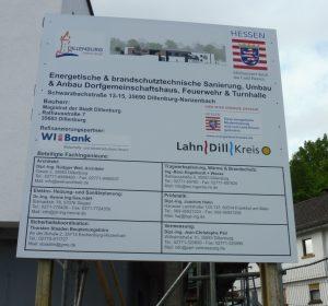 Schild zur energetischen und brandschutztechnischen Sanierung