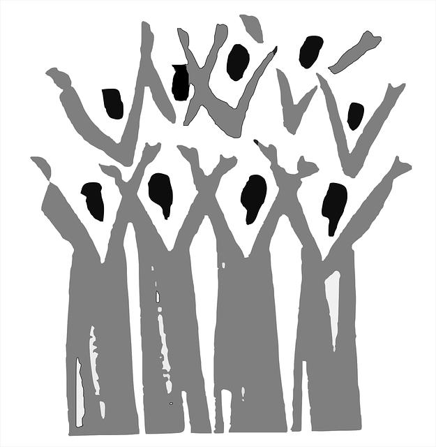 Ein stilisierter Chor, die Hände wie zum Lobpreis erhoben; Quelle Pixabay