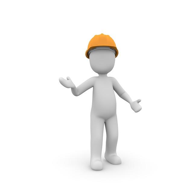 Ein stilisierter Bauarbeiter mit gelbem Helm