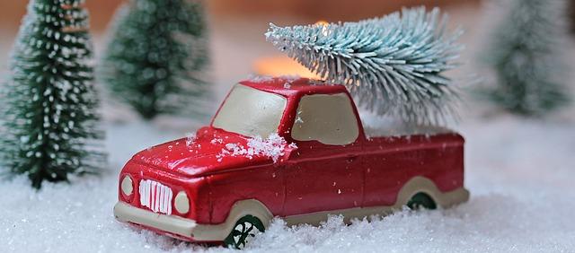 Weihnachtsbaumsammelaktionen: ein Spielzeugtruck mit Weihnachtsbaum auf der Ladefläche. Quelle Pixabay