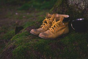 Zwei Wanderschuhe stehen auf einem moosbewachsenen Untergrund; Quelle: Pixabay