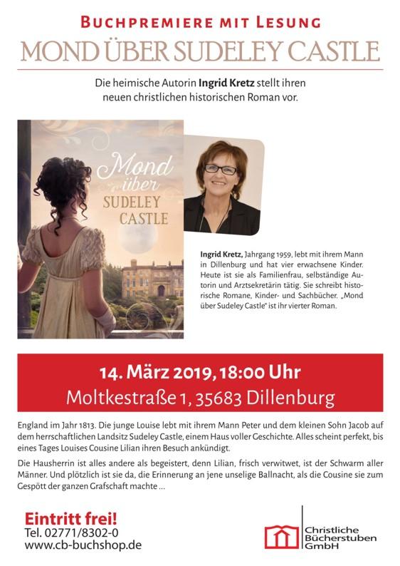 Lesung und Buchpremiere des neuen Romans von Ingrid Kretz am 14.03.2019, 18.00 Uhr in der Christlichen Bücherstube Dillenburg