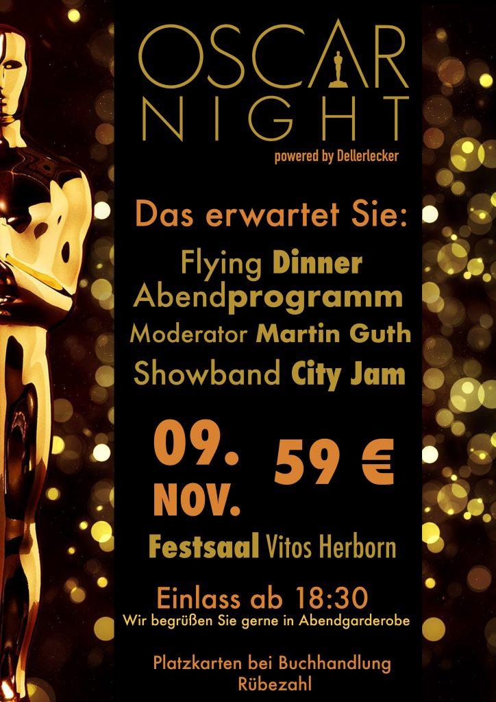 Das erwartet Sie: Flying Dinner, Abendprogramm, Moderator Martin Guth, Showband City Jam, 09. Nov. Festsaal Vitos, 59 €