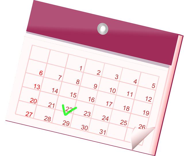 Ein Kalenderblatt; Bild von OpenClipart-Vectors auf Pixabay