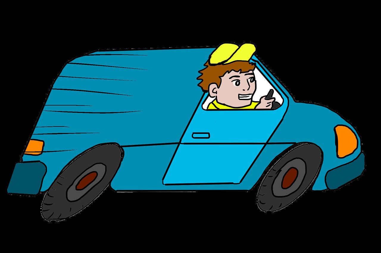 Zeichnung eines Lieferanten, der schnell mit seinem Lieferwagen unterwegs ist