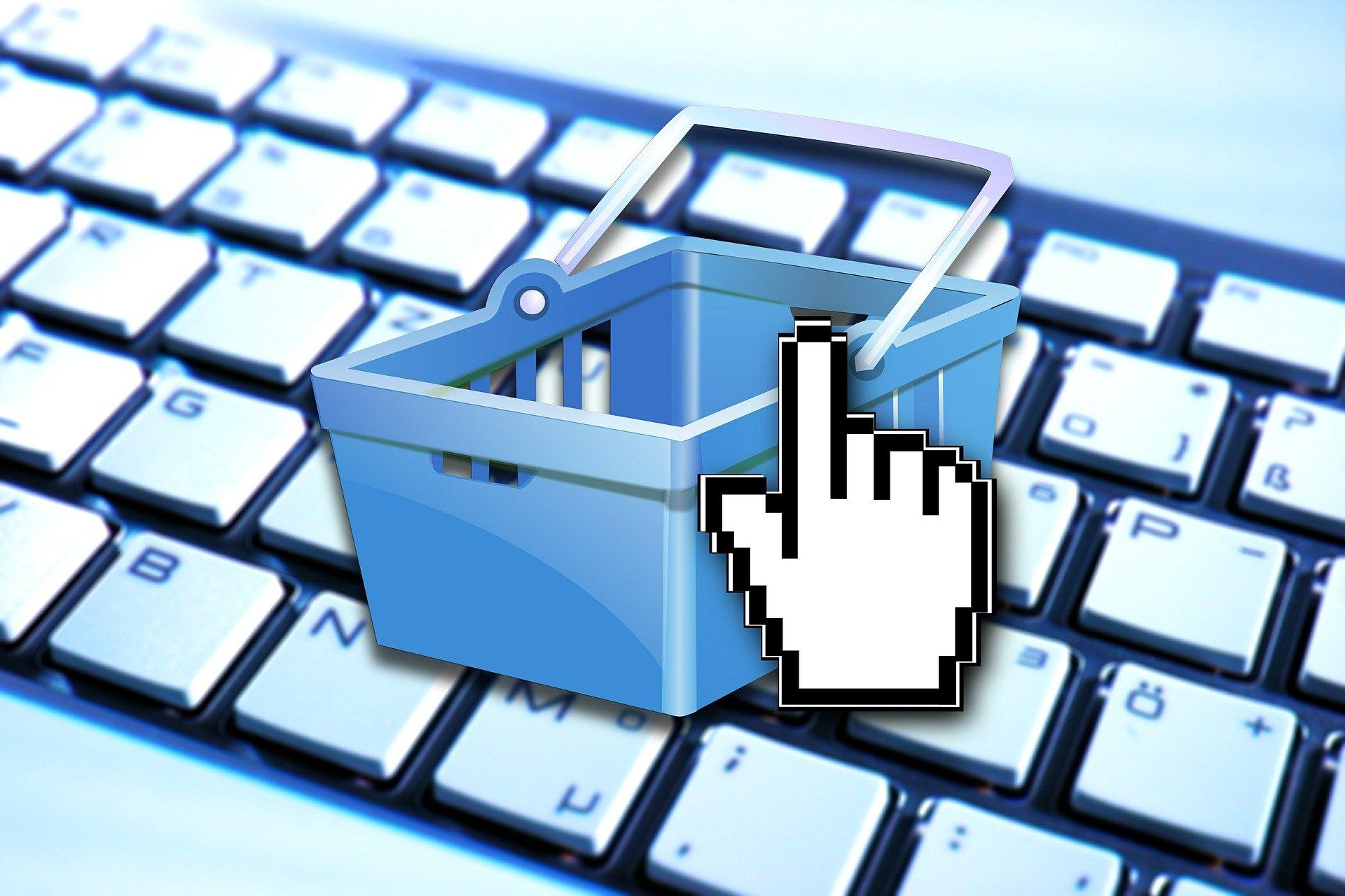 Grafik eines Einkaufskorbes und eines Mousecursers über einer Tastatur als Hinweis auf Online-Shopping Quelle Pixabay