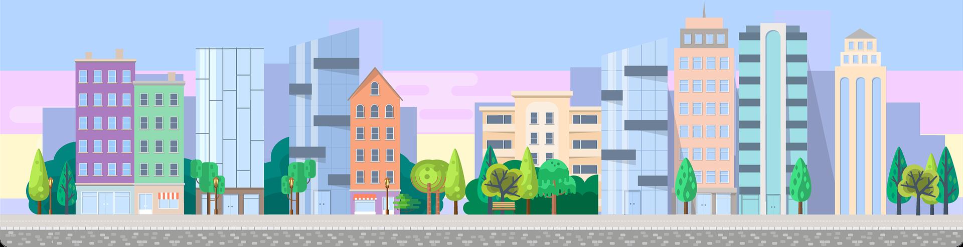 Grafik einer Stadtansicht