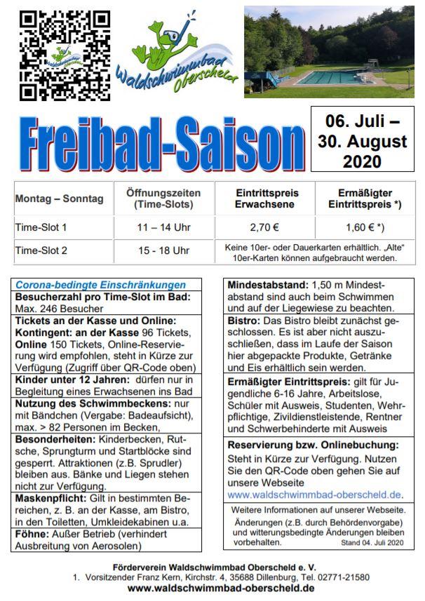 Informationen zur Freibadsaison 2020 im Waldschwimmbad Oberscheld. Mit einem Klick gelangen Sie zur PDF-Version.