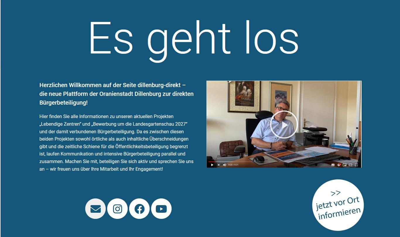 Screenshot der Startseite von Dillenburg-direkt.de