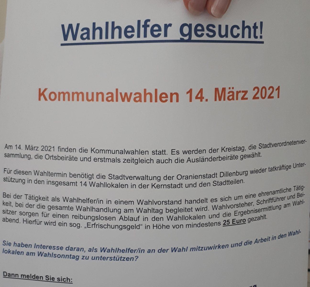 Plakat Wahlhelfer gesucht.