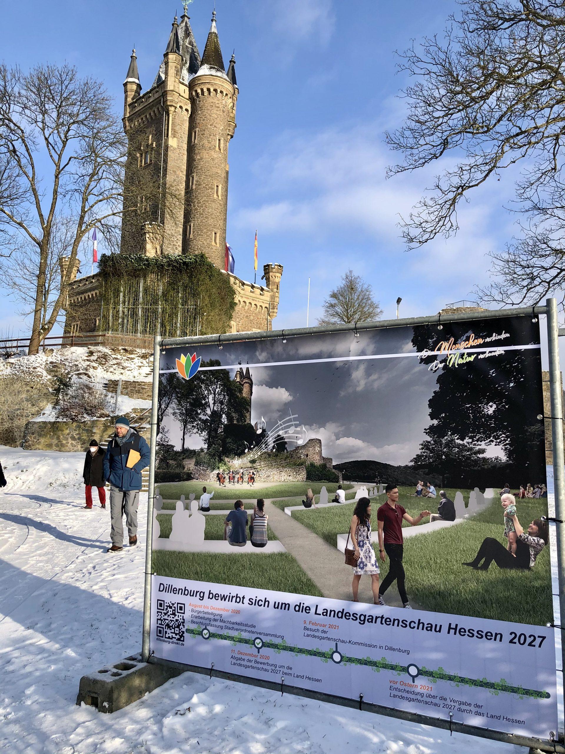Große Fotomontagen am Wilhelmsturm zeigen die Planungen