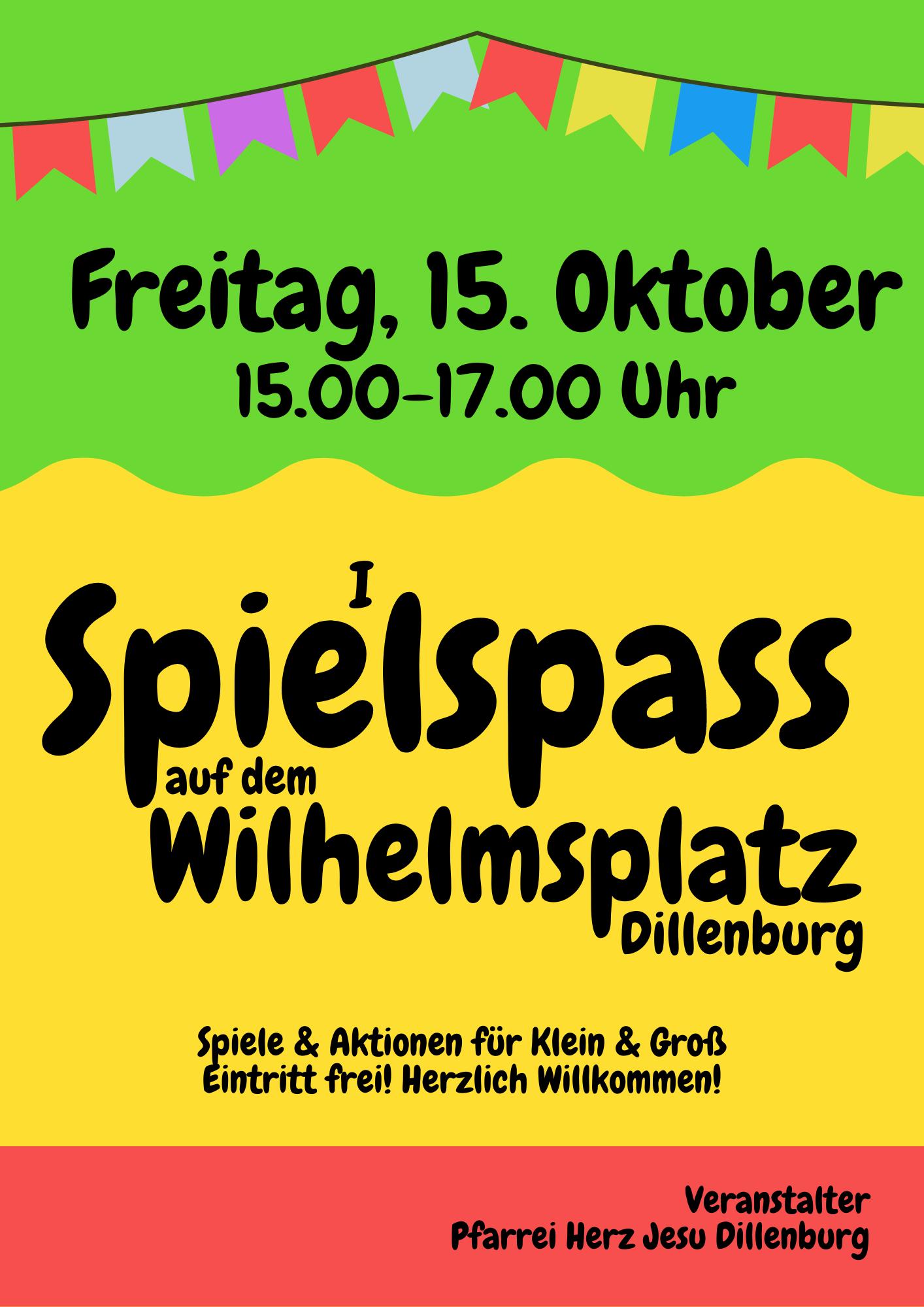 Spielspaß am 15. Oktober von 15.00 - 17.00 Uhr auf dem Wilhelmsplatz Dillenburg
