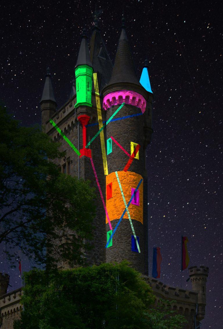 Visualisierung der Beleuchtung des Wilhelmsturms von Pascal Kulcsar